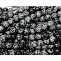 20 x 8 mm Obsidian Snowflake Beads